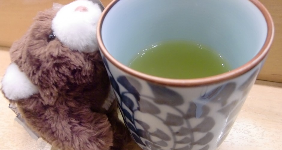Dummie tries to drink green tea