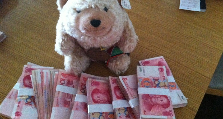 Counting money for Chinese New Year